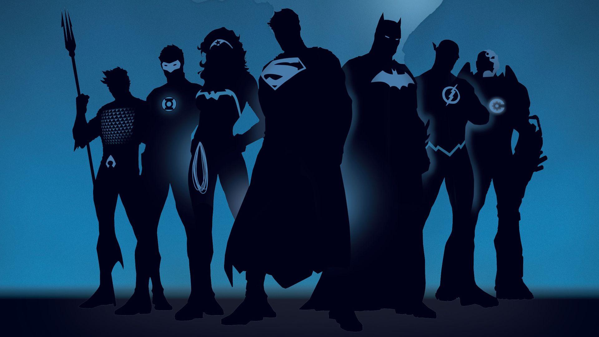 Justiceleague Aquaman Green Lantern Wonder Woman Superman Batman Flash Wallpa Superhero Silhouette Dc Comics Wallpaper Justice League Characters