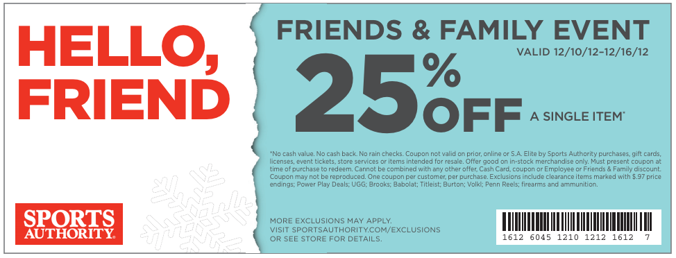 photo regarding Sports Authority Printable Coupon 25 Off known as Sports activities Authority: 25% off Printable Coupon Coupon codes