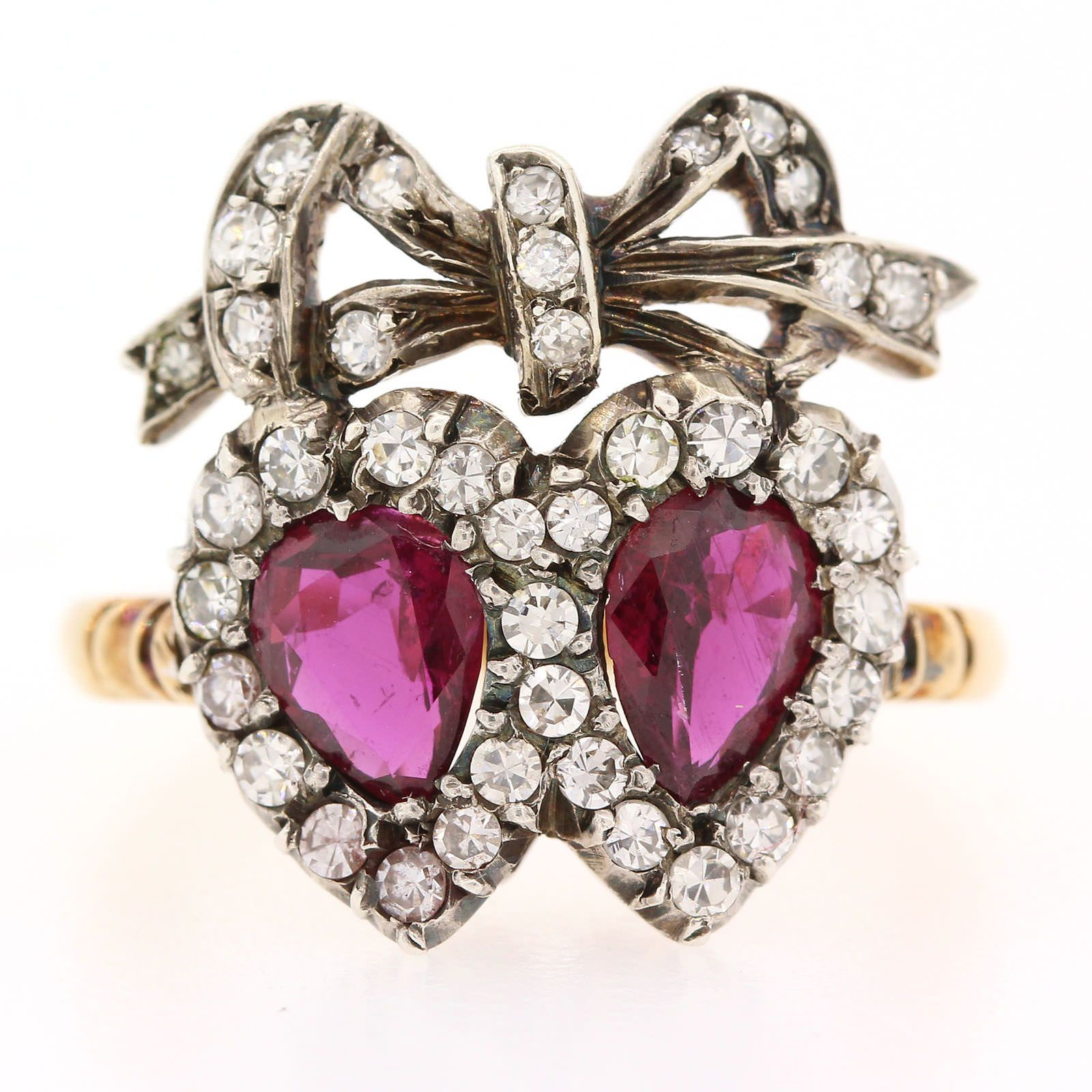 Vintage double heart ruby u diamond ring rubies pinterest ruby