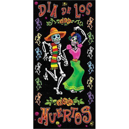 Day of the Dead Door Cover Halloween Decoration, Multicolor Doors - halloween decorations at walmart