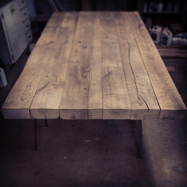 Table de cuisine en rable massif centenaire de 3po d 39 paisseur sign rustik bois de grange - Table de cuisine en bois massif ...