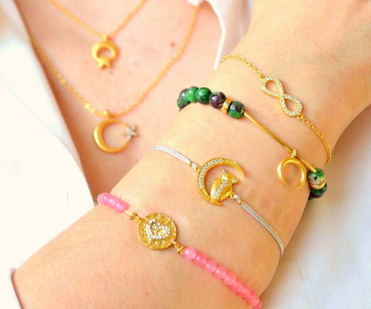 Crescent Star Necklace, Green Heart Bracelet, Gold Moon Bangle, Pink Heart Bracelet, Infinity Love Pink Bracelet, Owl Charm, Heart Bangle
