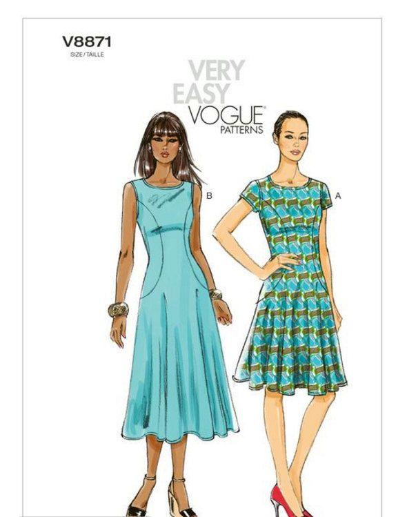 Vogue Dress Pattern Pullover Fit Flare Dress Pattern Knit Summer