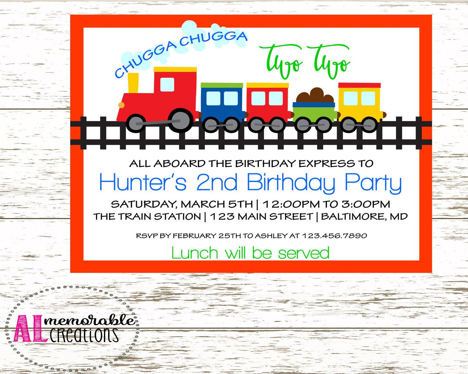 train birthday invitation chugga chugga two two boy birthday