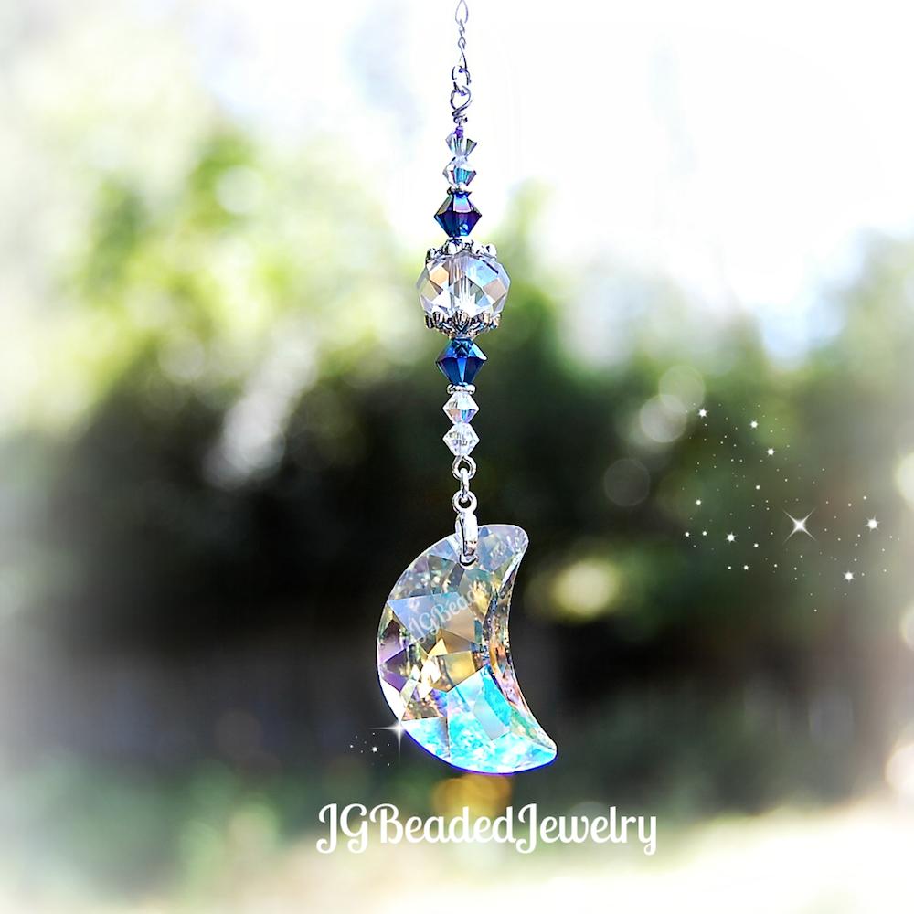 Hanging Moon Swarovski Crystal Suncatcher Jgbeads Crystal Suncatchers Suncatchers Swarovski Crystals