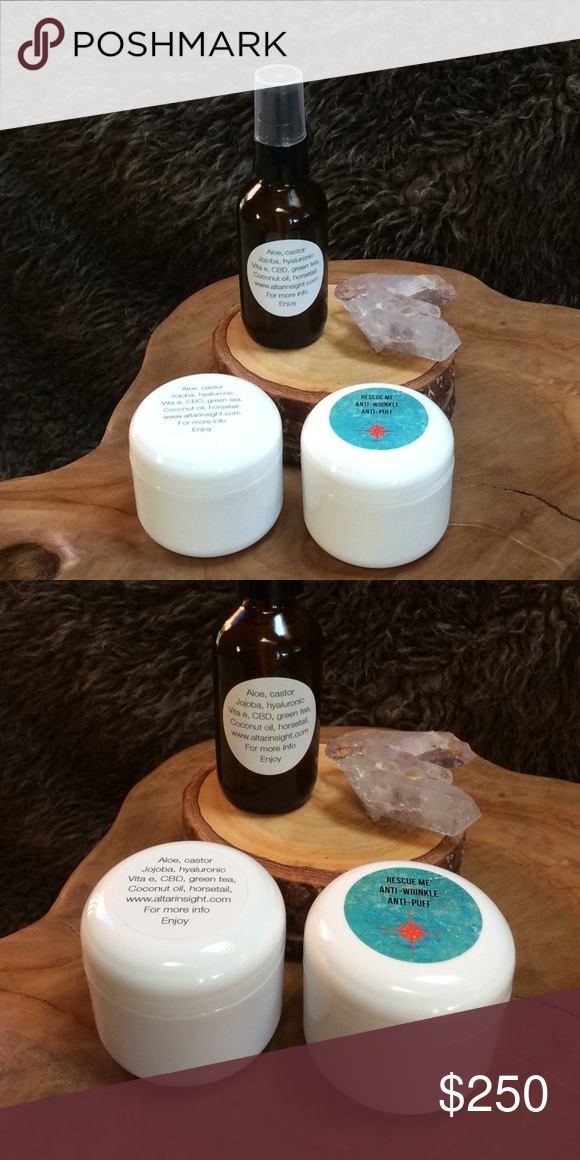 C B D Kit salve, anti-aging cream and massage oil C B D Kit salve