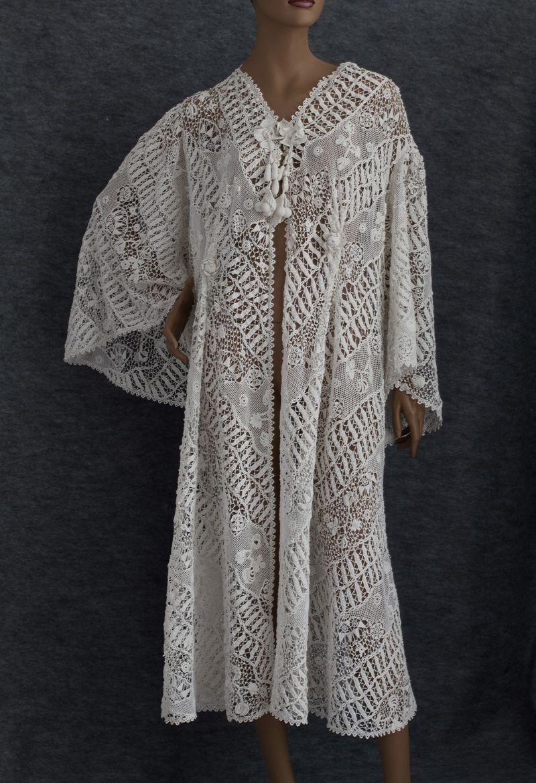 Wow!--and here it is full length: antique crochet Edwardian Irish Crochet lace coat