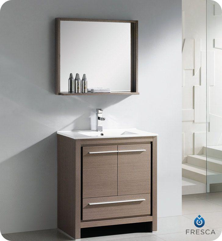 Allier Meuble Lavabo De Salle Bains Moderne En Chene Gris 30 Po Avec Miroir