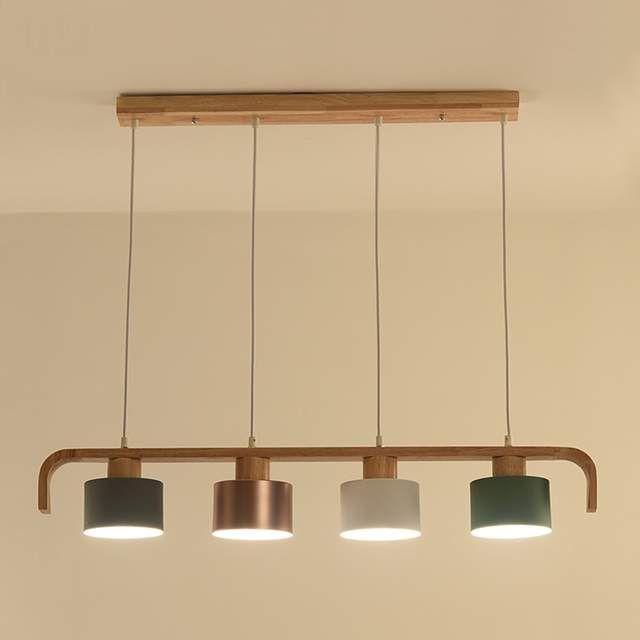 Lukloy Bois Moderne Pendentif Lumières Led Feux De Cuisine Led Lampe