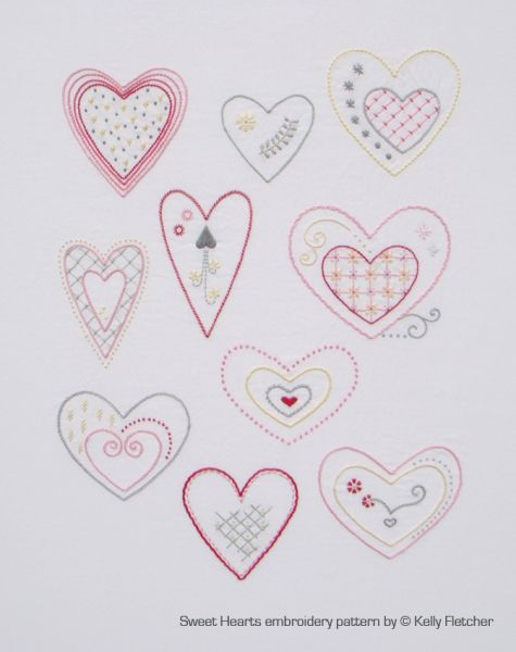 Sweet Hearts 10 Hand Embroidered Heart Designs Pattern Available