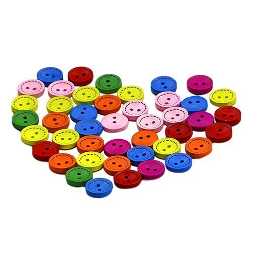 Photo of 100Pcs 2 Holes Colorful Mixed Round Wooden Buttons Sewing DIY Craft Scrapbooking – as the picture d