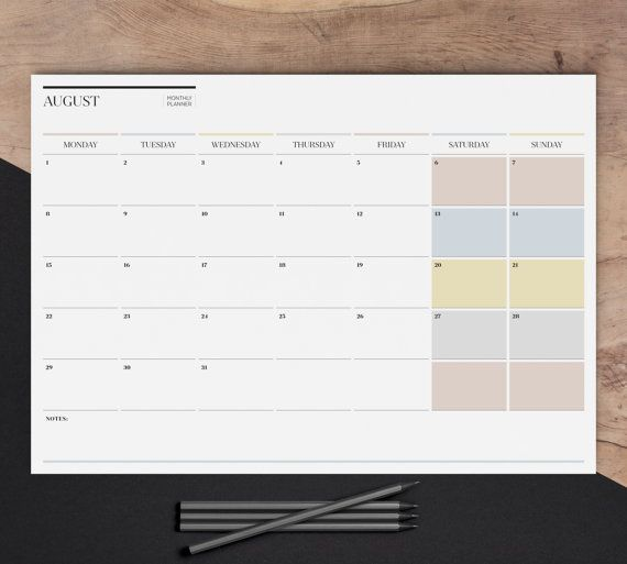 A2 Monthly Wall Planner 2016 Printable Large Desk Calendar 12