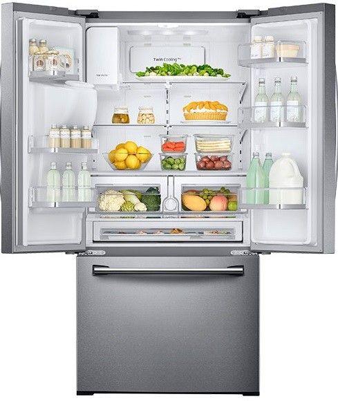 Rf26j7500sr By Samsung French Door Refrigerators Goedekers Com Samsung Refrigerator French Door Samsung French Door French Doors