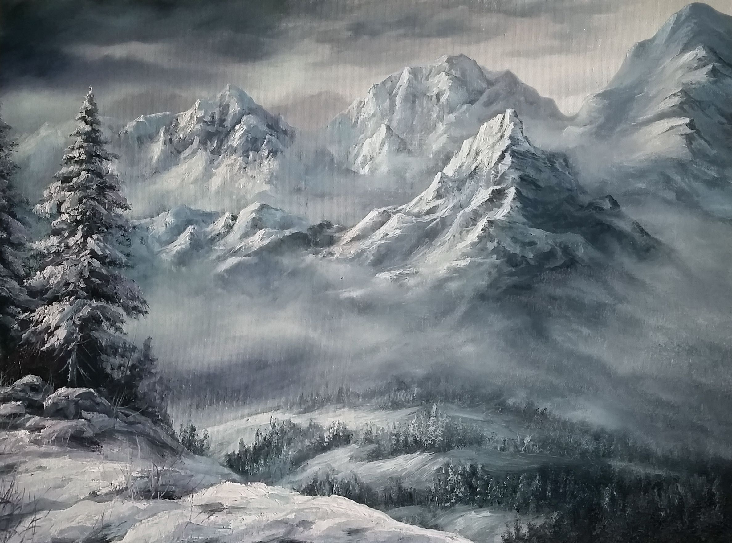 Snowy Mountains Oil Painting By Kevin Hill Watch Short Oil Painting Lessons On Youtube K Kevin Hill Paintings Mountain Paintings Landscape Paintings Acrylic