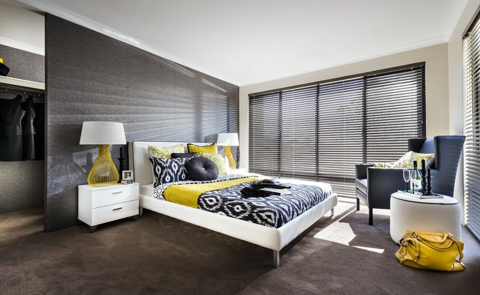 Large master bedroom features a walk in robe behind the for Walk in robe designs