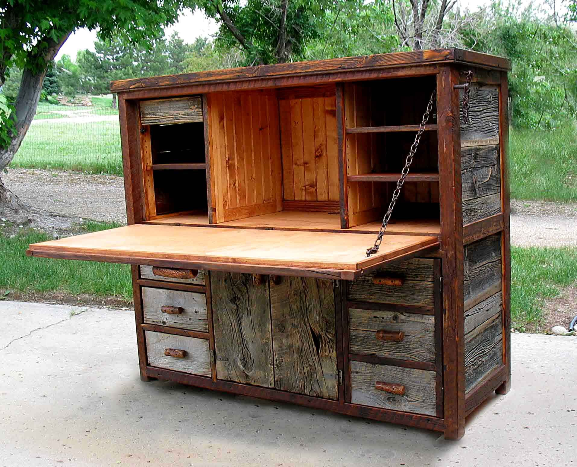 Rustic barnwood desks computer fold down and seven for Rustic barn plans