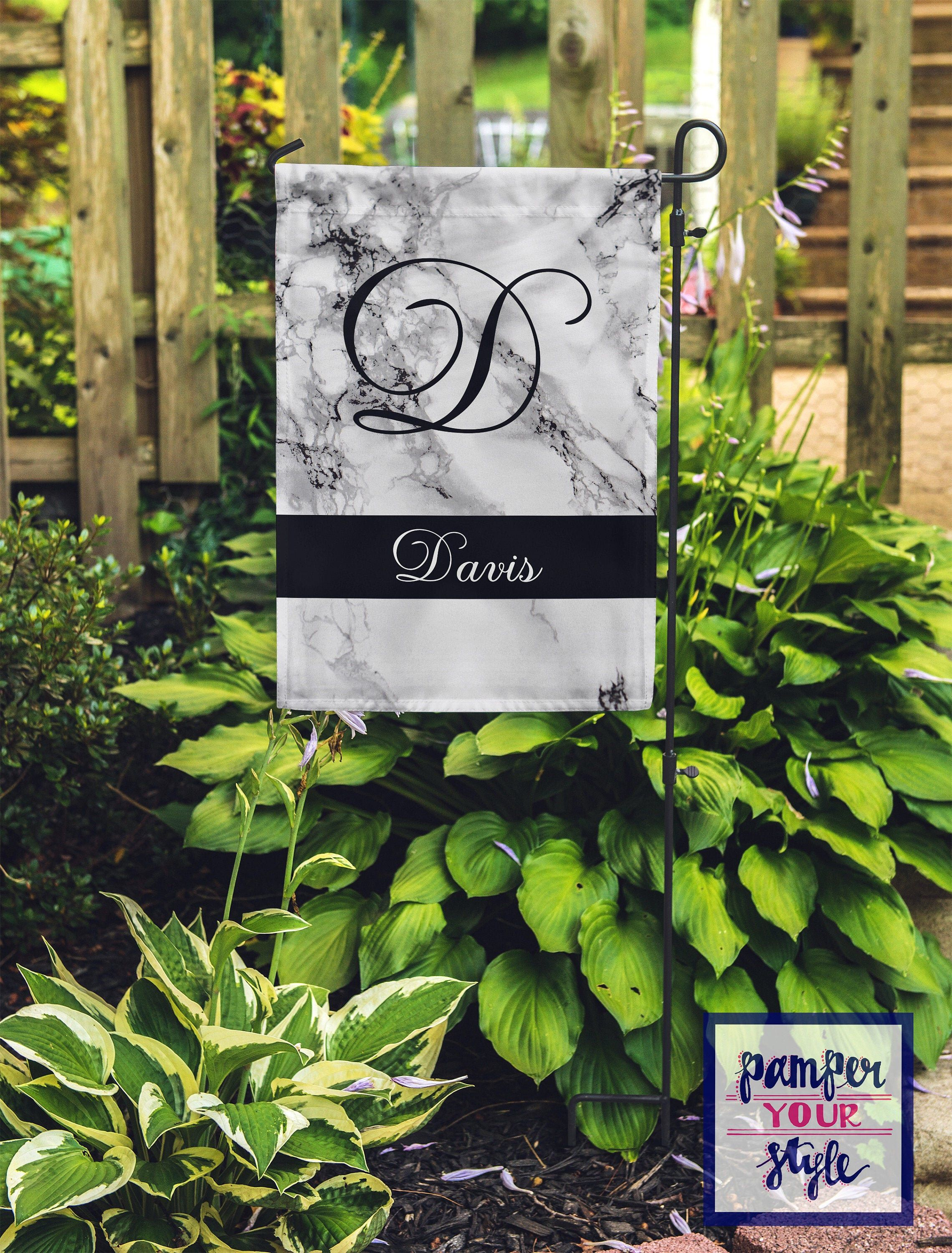 Classic Marble Garden Flag Personalized Stone Look Flag Etsy In 2020 Personalized Garden Flag Christmas Yard Decorations Garden Flags