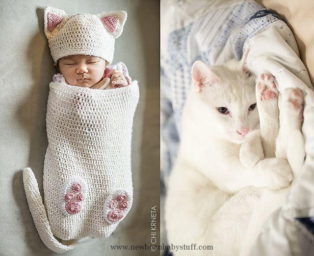 Child Knitting Patterns Ravelry: Cat Child Cocoon Hat & Bootie Set ...