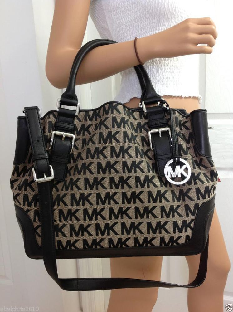 37855980ca7589 Michael Kors Brookville Large MK Signature Crossbody Tote Bag Purse Black  Beige