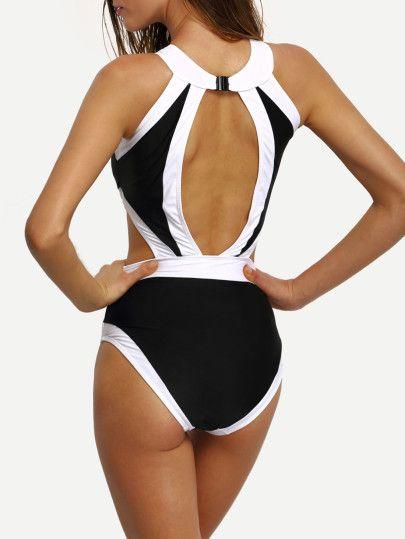 Contrast High Neck Cutout One Piece Swimwear One Piece Swimwear One Piece Swimwear