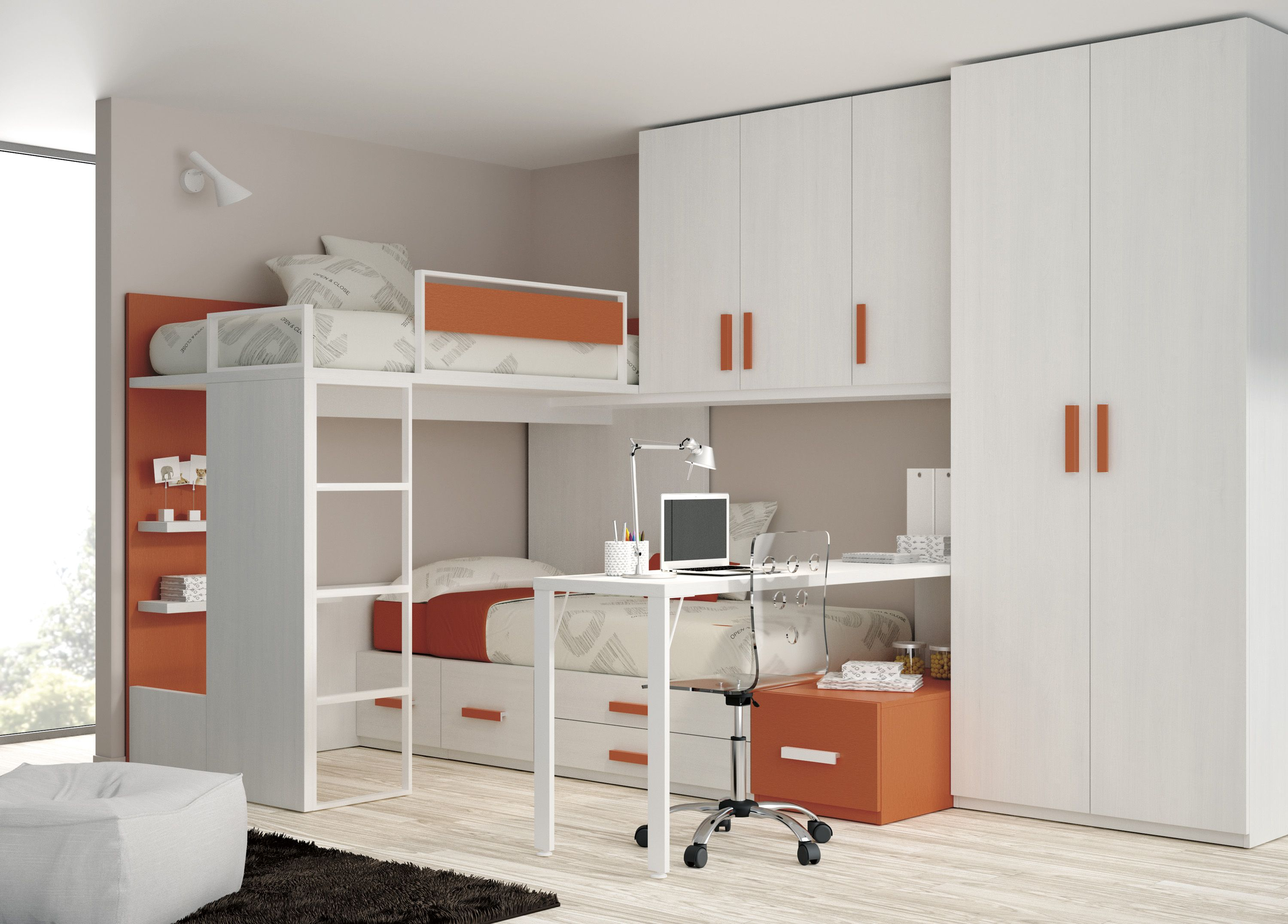Wondrous White And Orange Themes Kids Bedroom Ideas With Built In Cabinets  And Corner Bunk Beds Added Laptop Desk As Modern Small Bedroom Decors