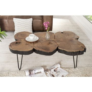 Table Basse Contemporaine En Bois Massif D Acacia Coloris Naturel Table Basse Tronc D Arbre Table Basse Tronc D Arbre