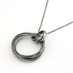 $4.68 Vintage Punk Style Twisted Loop Pendant Women's Sweater Chain Necklace