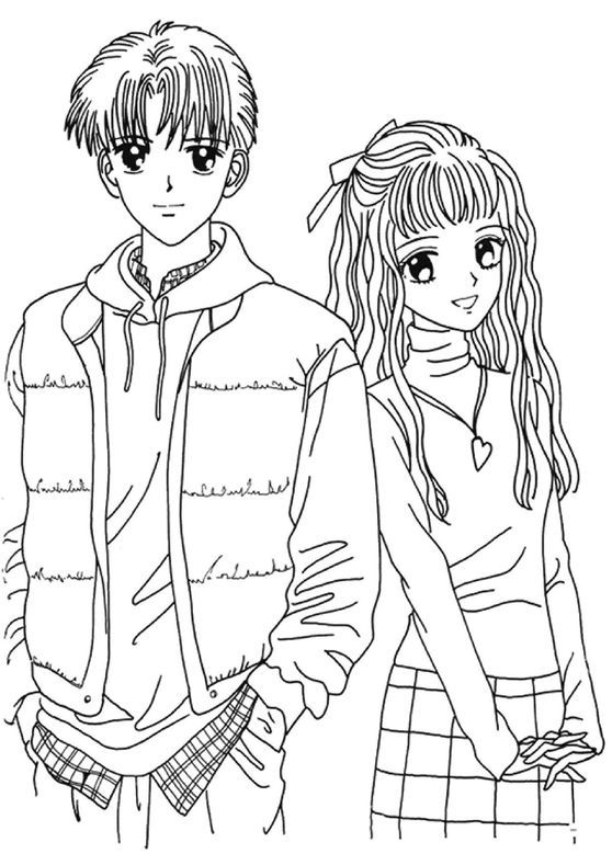 Boy and Girl Anime Coloring Page to Print : New Coloring