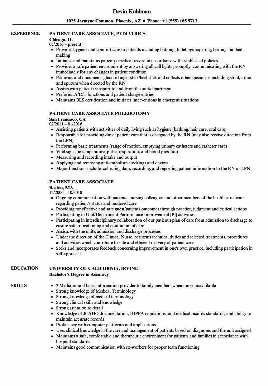 Patient Care assistant Job Description Resume Unique