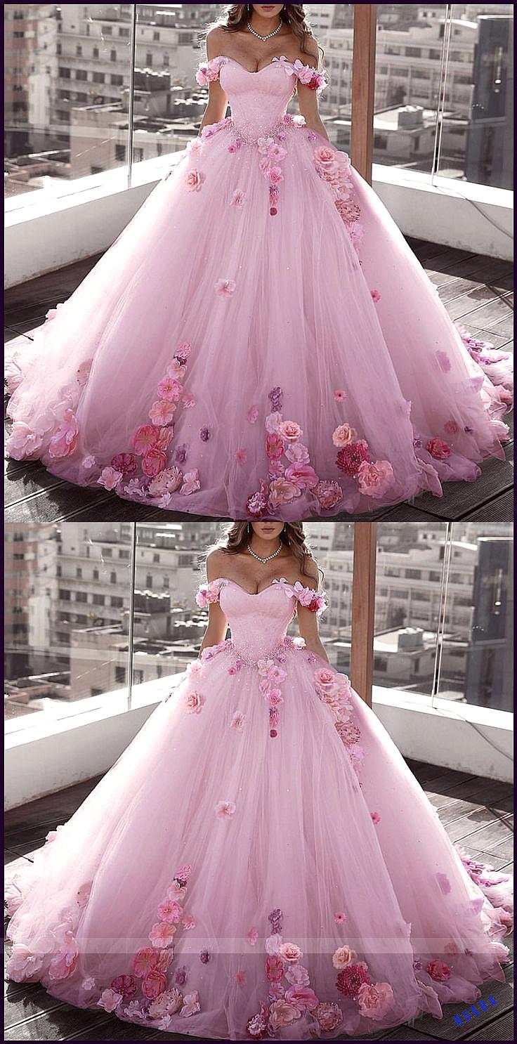 Schulterfrei Tüll Ballkleid Brautkleider Blumen Blumen Perlen