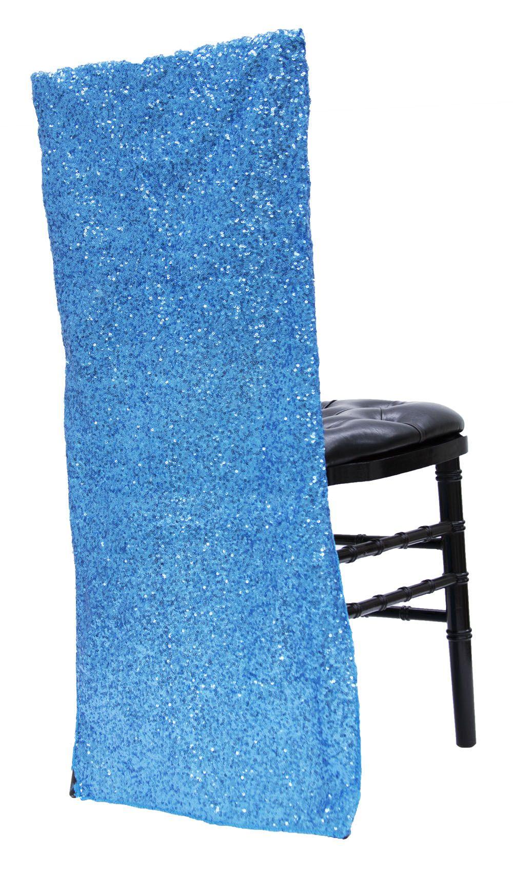 Glitz Sequin Full Chair Back Cover Aqua Blue Chair