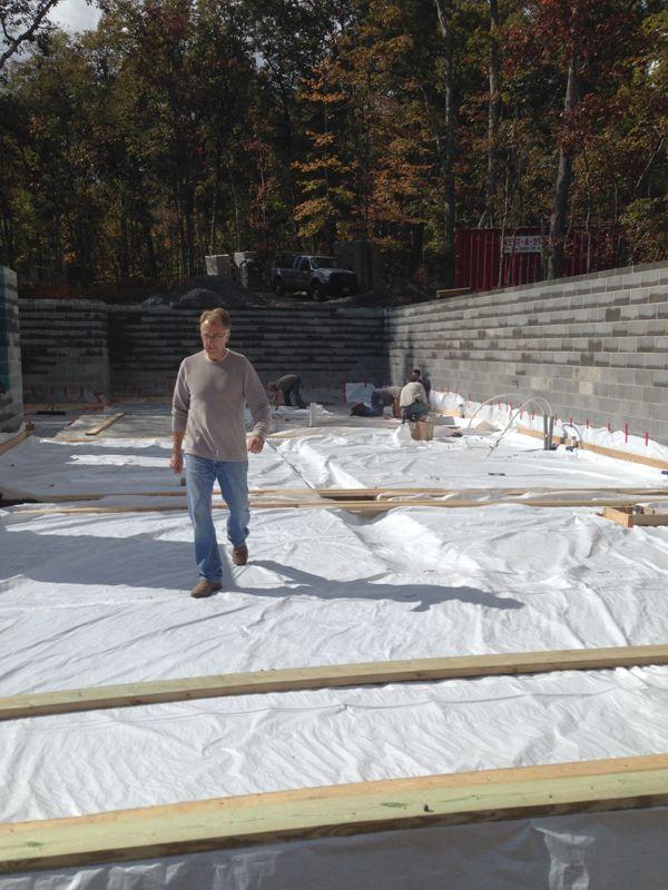Net Zero Passive House Maryland Foam Free Mineral Wool Underslab Insulation Installed Brennan Company Architec Passive House Mineral Wool Installation