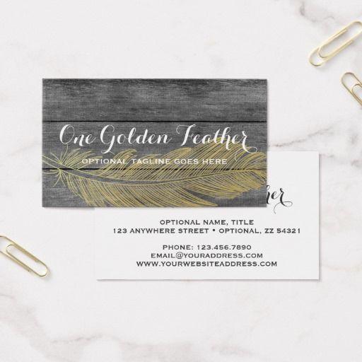 Modern Gold Feather On Rustic Dark Wood Background Business Card Vintage Branding Marketing By CyanSkyDesign