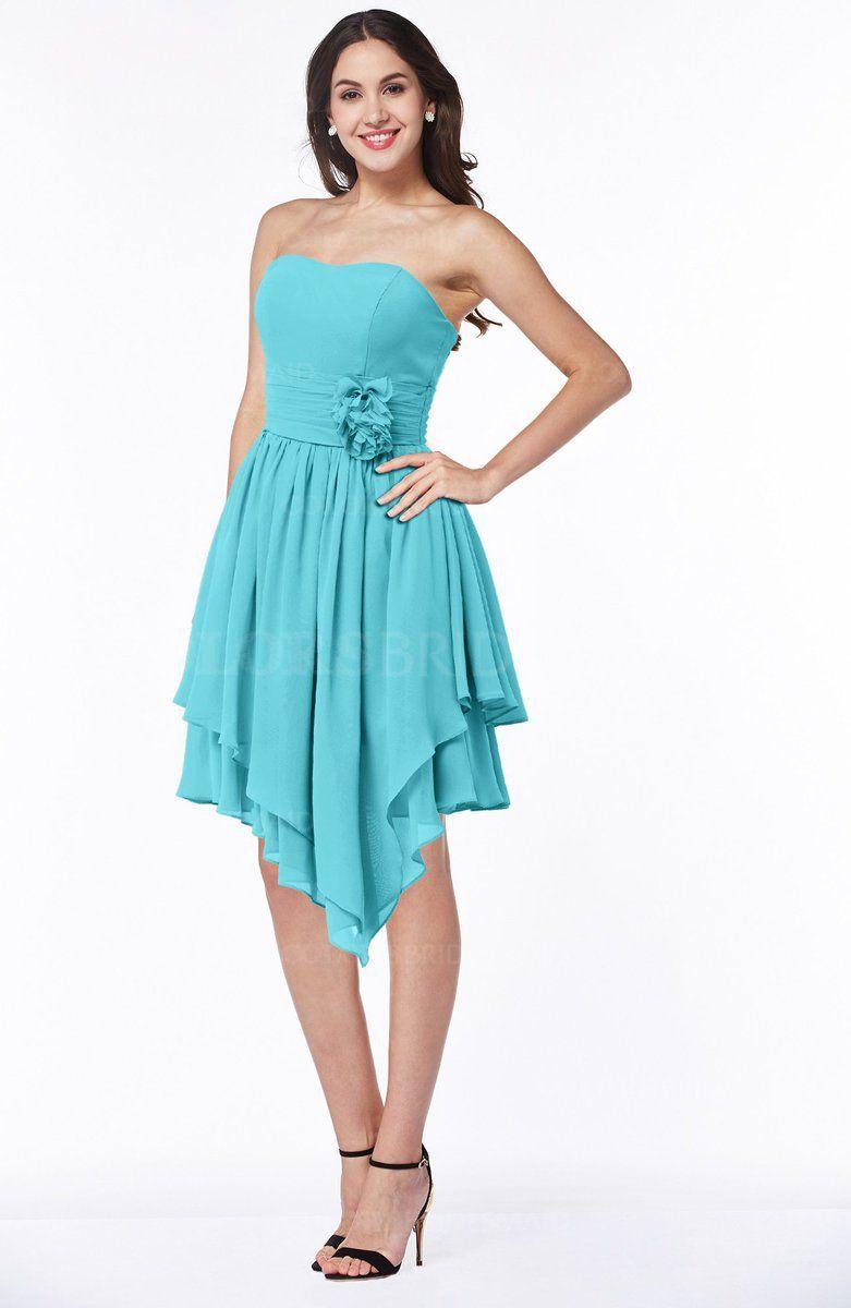 Turquoise Informal A Line Strapless Chiffon Sash Plus Size