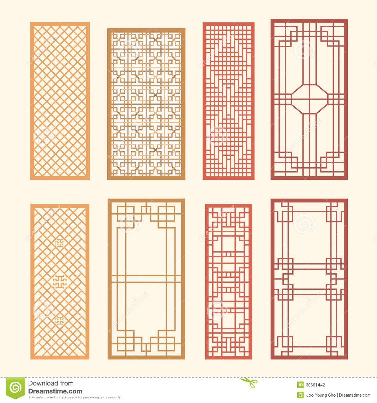 Korean old of window frame symbol sets korean traditional for Window frame design