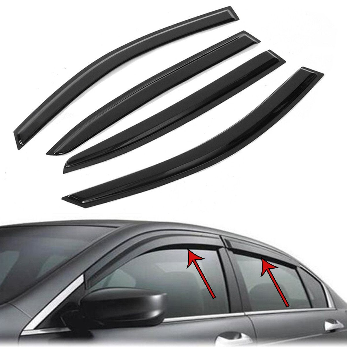 Us 20 19 Window Vent Visors Shield Rain Guards Sun Deflector For Honda Accord 4dr 08 12 Window Vent Viso Honda Accord Window Vents Old Car Parts
