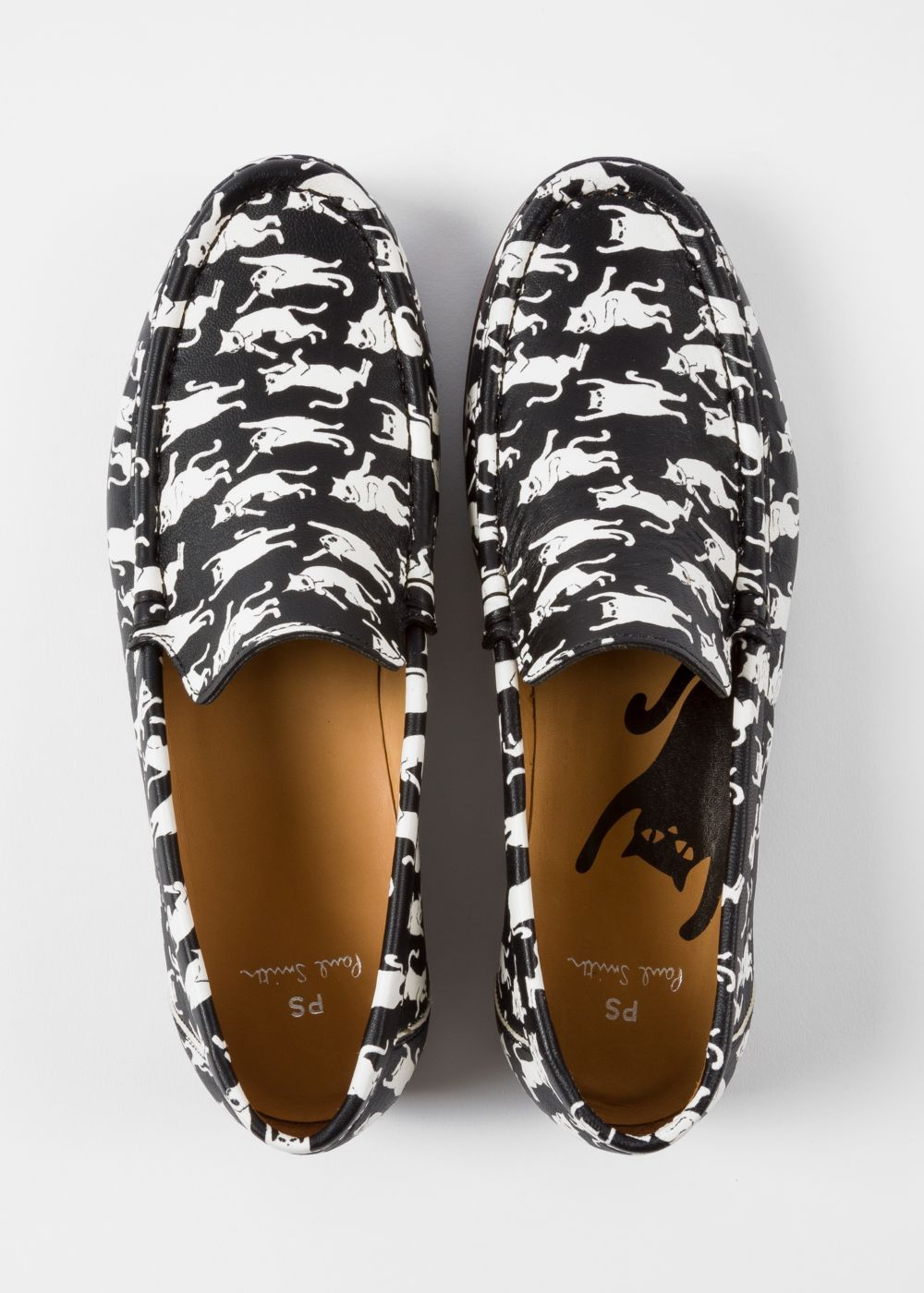 dac849fca21 Women s Black  Danny  Leather Loafers With  Dancing Cats  Print - Paul Smith  US
