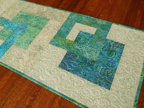 Modern Quilted Batik Table Runner In Aqua Blue Purple Green Beach Decor Dining Table Decor Bedroom Dresser Runner Coffee Table Runner With Images Batik Table Runners Contemporary Dining Room Decor Coffee