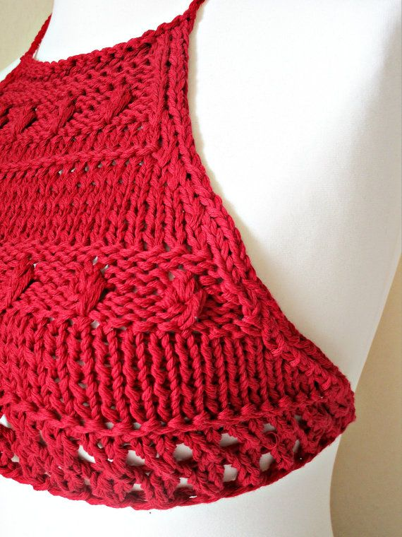 Knit Halter Top Crochet Halter Top Red Bikini Top Crop Beach Tank