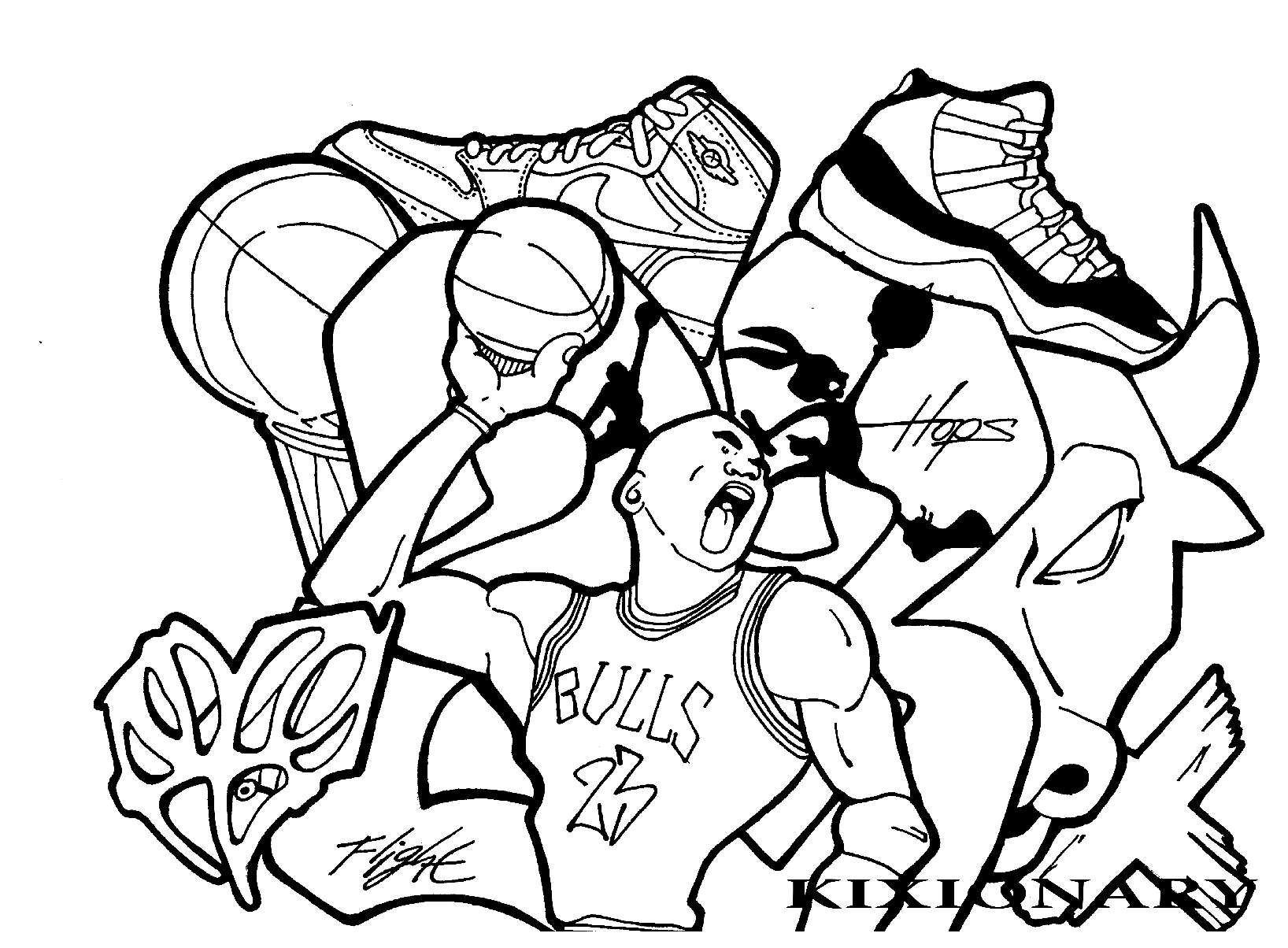 Coloring pages for jordans - Free Coloring Page Coloring Adult Graffiti Michael Jordan By Kixionary