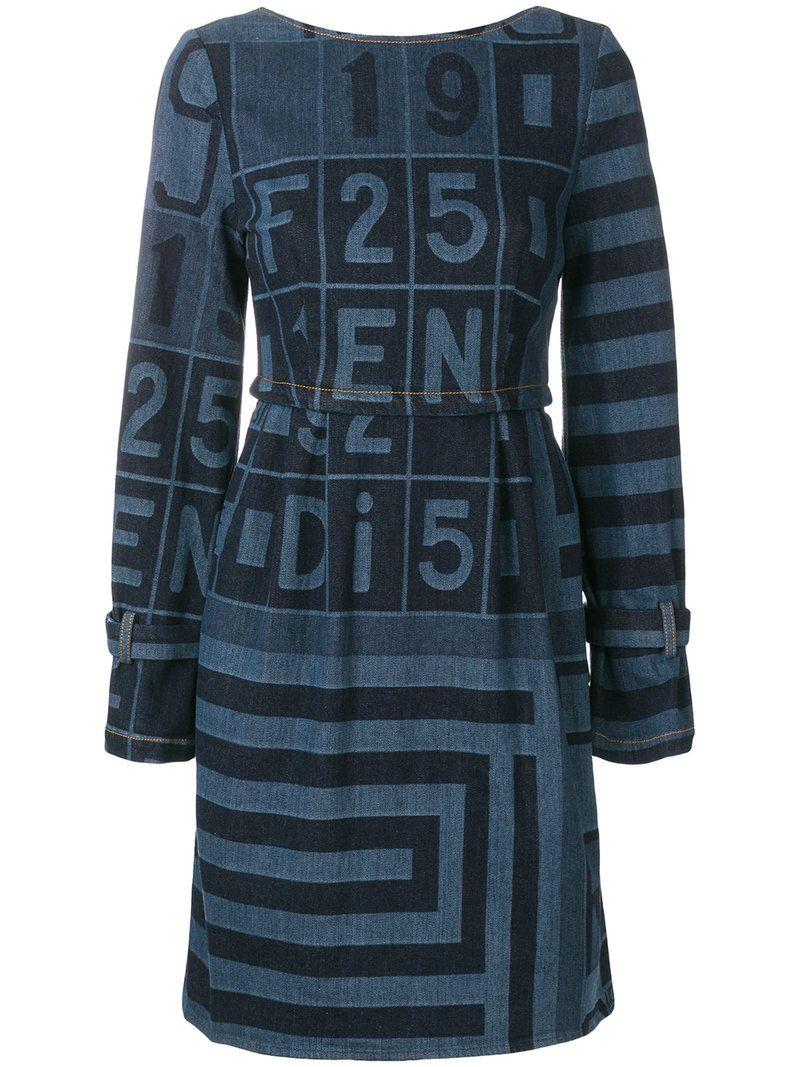 bb96b8bce78 FENDI PRINTED DENIM DRESS.  fendi  cloth