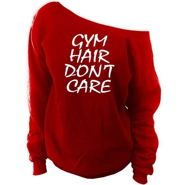 Gym Hair Don't Care Off-The-Shoulder Oversized Slouchy Sweatshirt