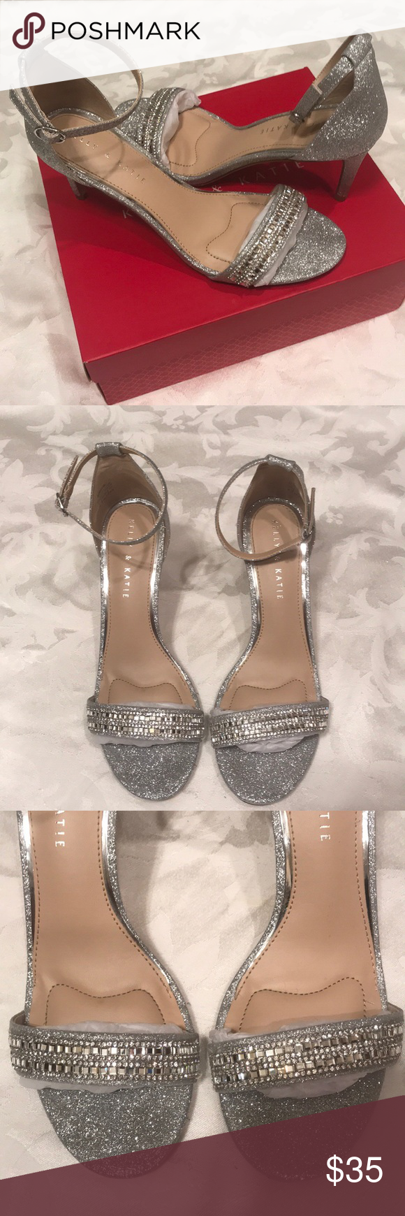 """c249275c3f1 Kelly   Katie Kirstie Sandal - Silver Glitter Adjustable ankle strap  closure. Round open toe. Cushioned footbed. 3"""" covered heel. Silver  Metallic Glitter."""