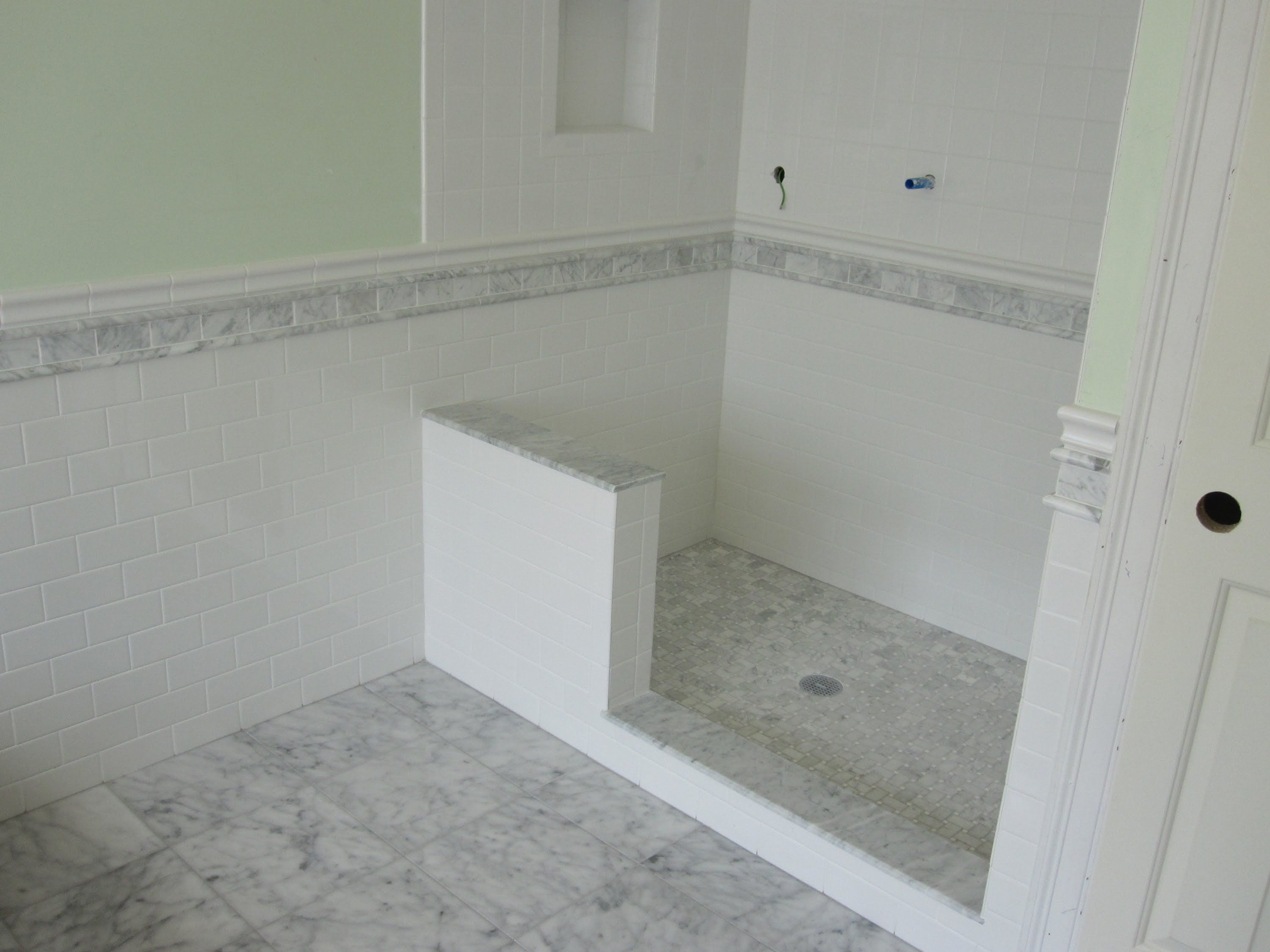 Image result for white subway tile with chair rail  Tile bathroom