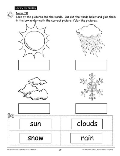 Name It! | Education---Weather and Water Cycle | Cut, paste ...