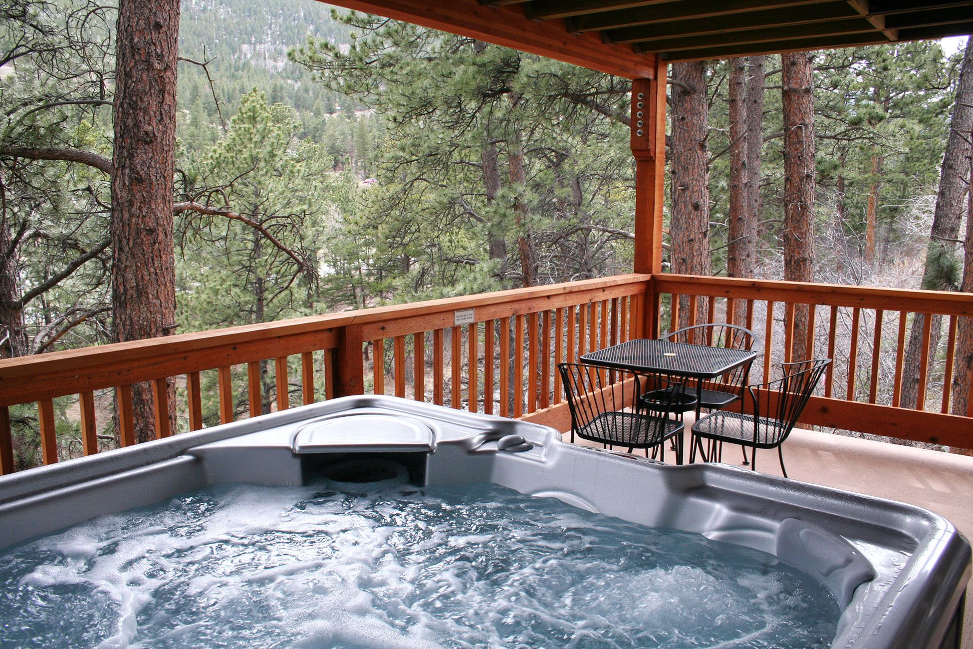 cabin in with getaway colorado the creek mountains rentals cripple usa covered log cabins deck front vacation of