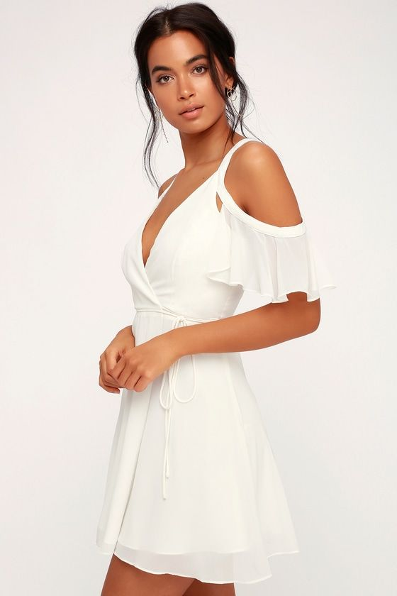 8059d403fffc Lulus | Bombshell White Off-the-Shoulder Wrap Dress | Size X-Small ...