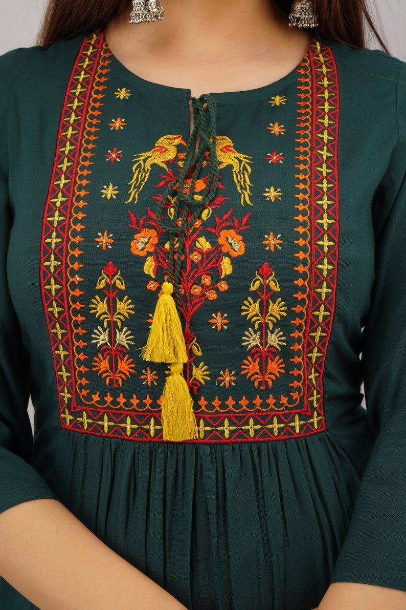 Women's Embroidered Rayon Anarkali Kurta   Kurti w