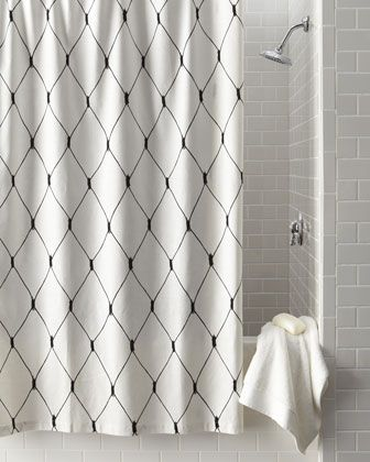 Legacy Home Linea Graphic Diamond Shower Curtain Black White