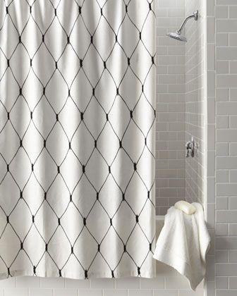 Legacy Home Linea Graphic Diamond Shower Curtain Black White